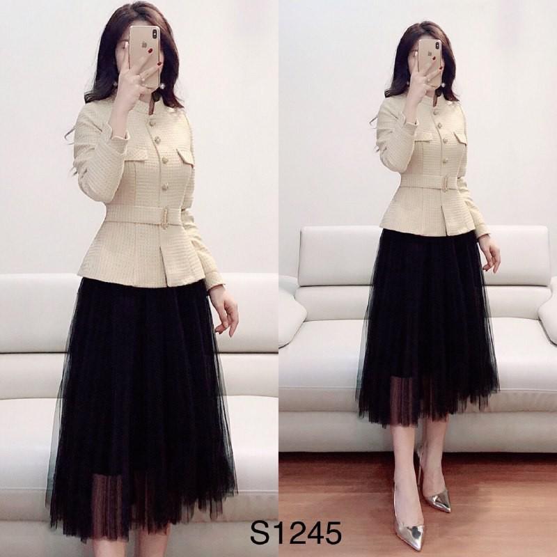 Set áo dạ và chân váy lưới lót umi hot hit S1245 Medushop kèm ảnh thật