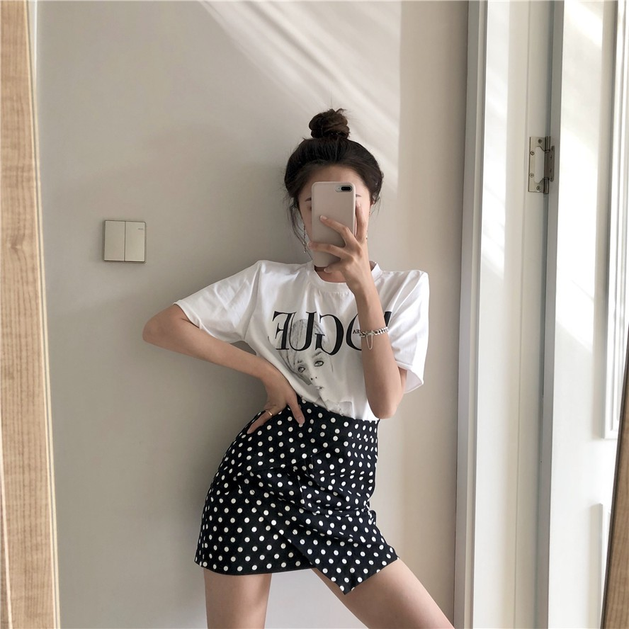 Set Áo Thun Tay Ngắn In Chữ + Chân Váy Lưng Cao Thời Trang Cho Nữ
