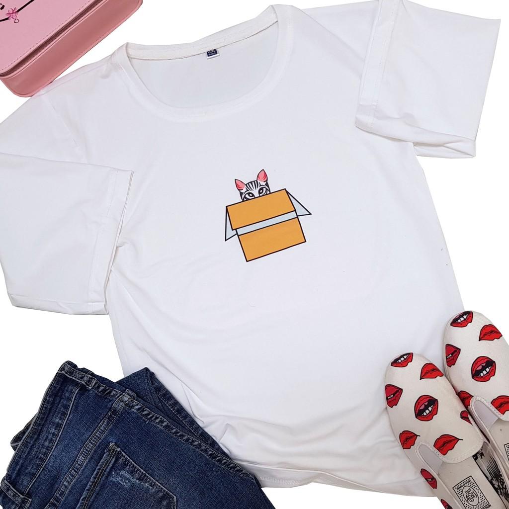 Áo thun Nữ phong cách hàn quốc in họa tiết Mèo trong hộp