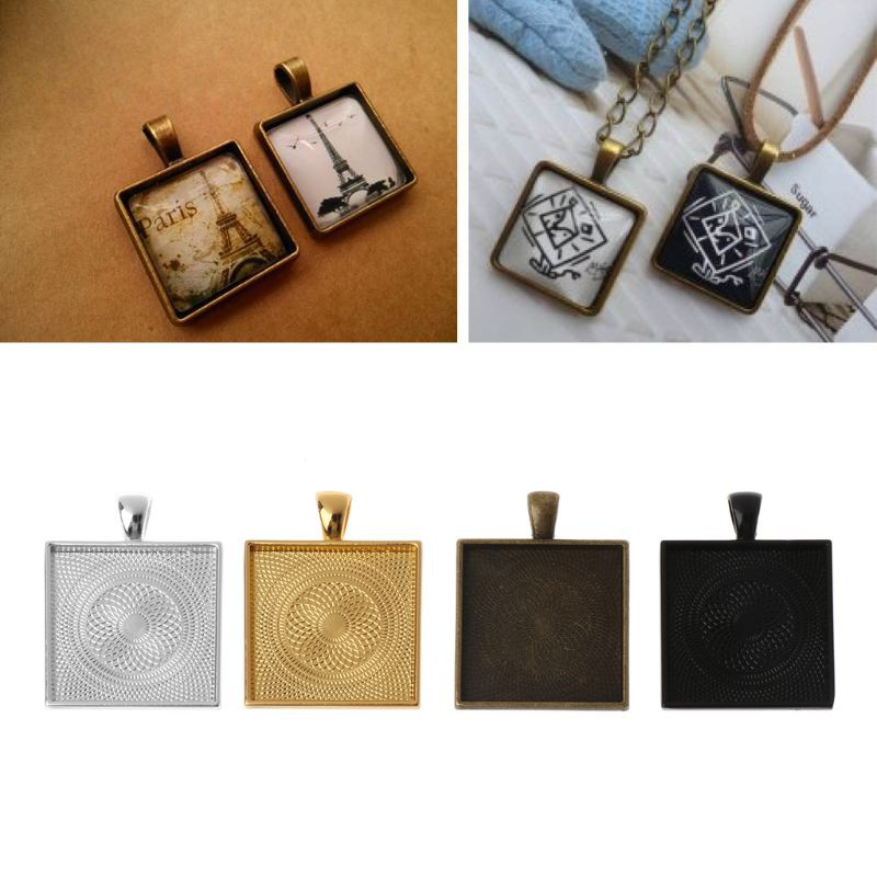 Set 5 khuôn vuông hợp kim kẽm dùng để làm mặt dây chuyền đồ trang sức 25 x 25 mm