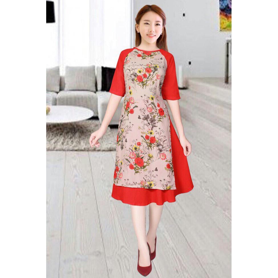 Khuyến Mãi Áo dài cách tân phối váy - KV1683 Hot 2019
