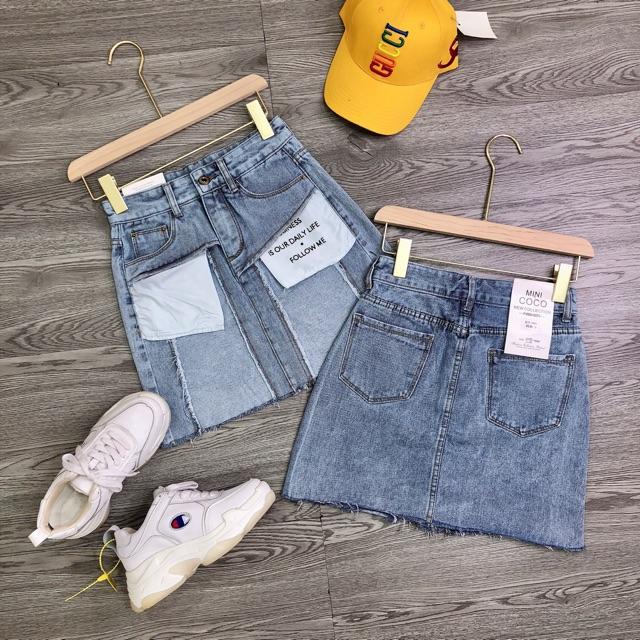 Chân váy jean túi ngược