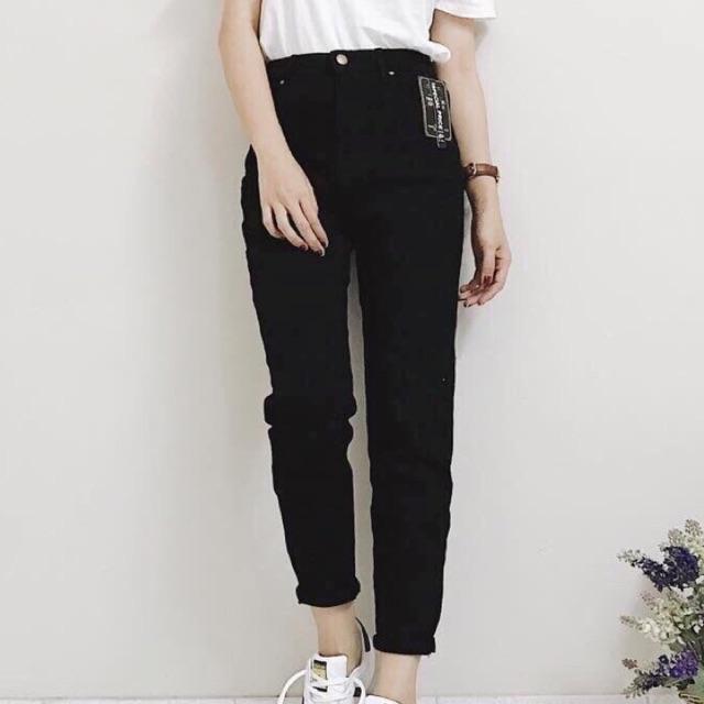 Quần jean nữ trắng, đen săn lai