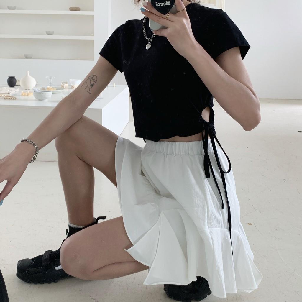 SET áo croptop + chân váy ngắn tầng - Hàng ORDER nhắn shop trước khi đặt
