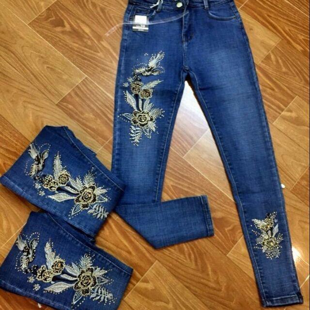 quần jean thêu hoa