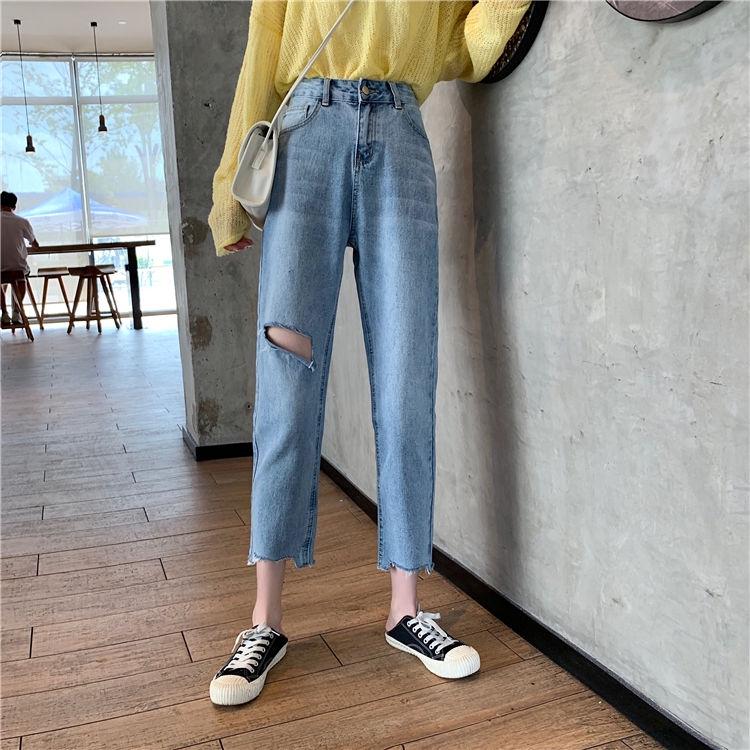 Quần Jean dáng suông rách cá tính năng động hợp thời trang