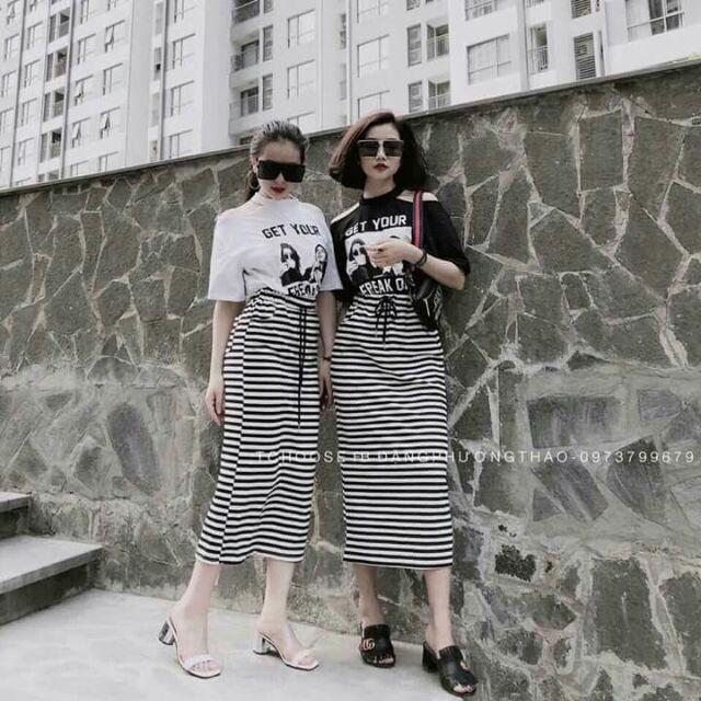 Sét chân váy áo phông