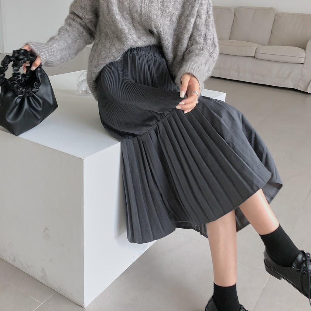 Chân Váy Dài Lưng Thun Xếp Ly Thời Trang Mùa Thu Cho Nữ