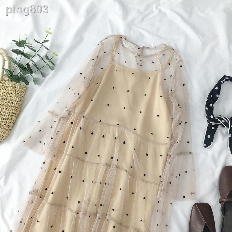 Set Đầm Hai Dây Họa Tiết Chấm Bi Phối Chân Váy Lưới Phong Cách Hàn Quốc