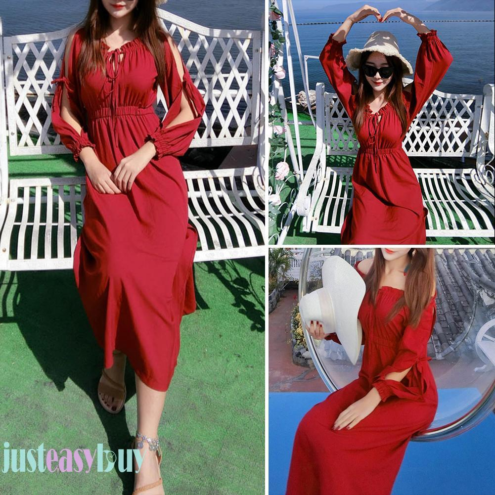 【Ready Stock】Fashion Autumn Solid Women Split Sleeve Lace-Up Strapless Off Shoulder Hollow Dress