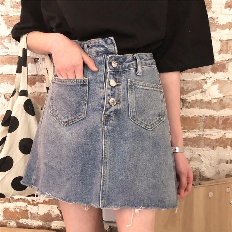 Chân váy jeans lưng cao thời trang Hàn Quốc