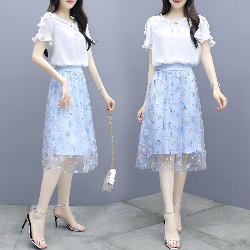 Bộ Áo Voan Thêu Họa Tiết + Chân Váy Xinh Xắn Dành Cho Nữ 2020