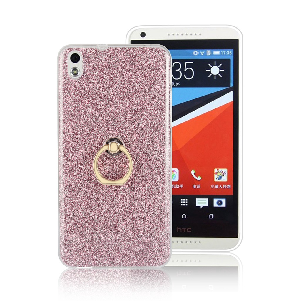 For [HTC Desire 816] Glitter Stickers Finger Ring Stand Soft Silicone Case