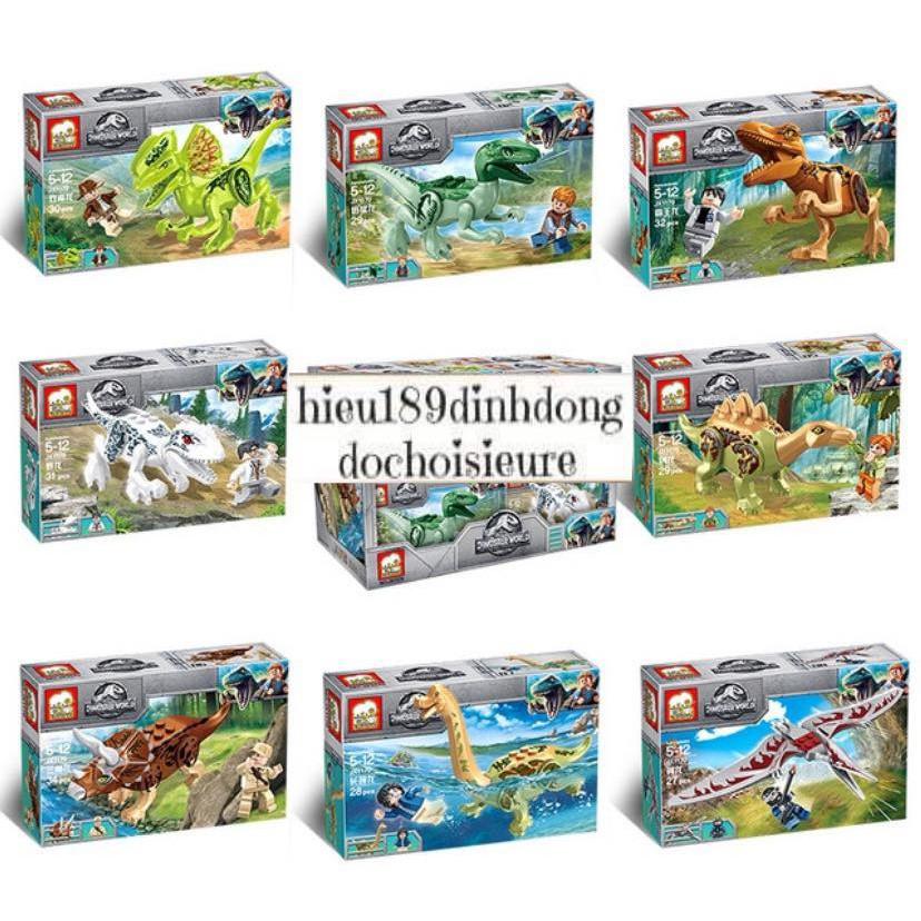 Lắp ráp xếp hình Lego Jurassic World Dinosaur 1170 : Khủng long kèm người mini (ảnh thật)