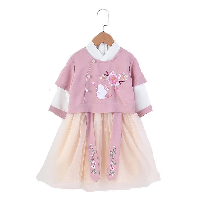 Set áo thêu phong cách Trung Hoa + chân váy lưới cho bé gái