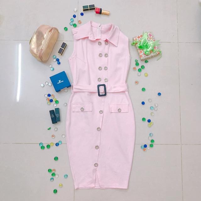 Thanh lý đầm body cổ vest hồng xinh