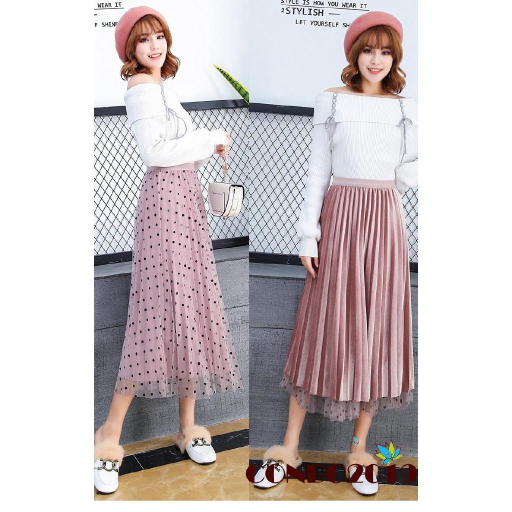 Chân váy dài lưng cao họa tiết chấm bi phong cách boho thời trang cho nữ