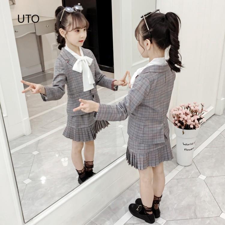 Set áo dài tay + chân váy thời trang cao cấp cho bé gái