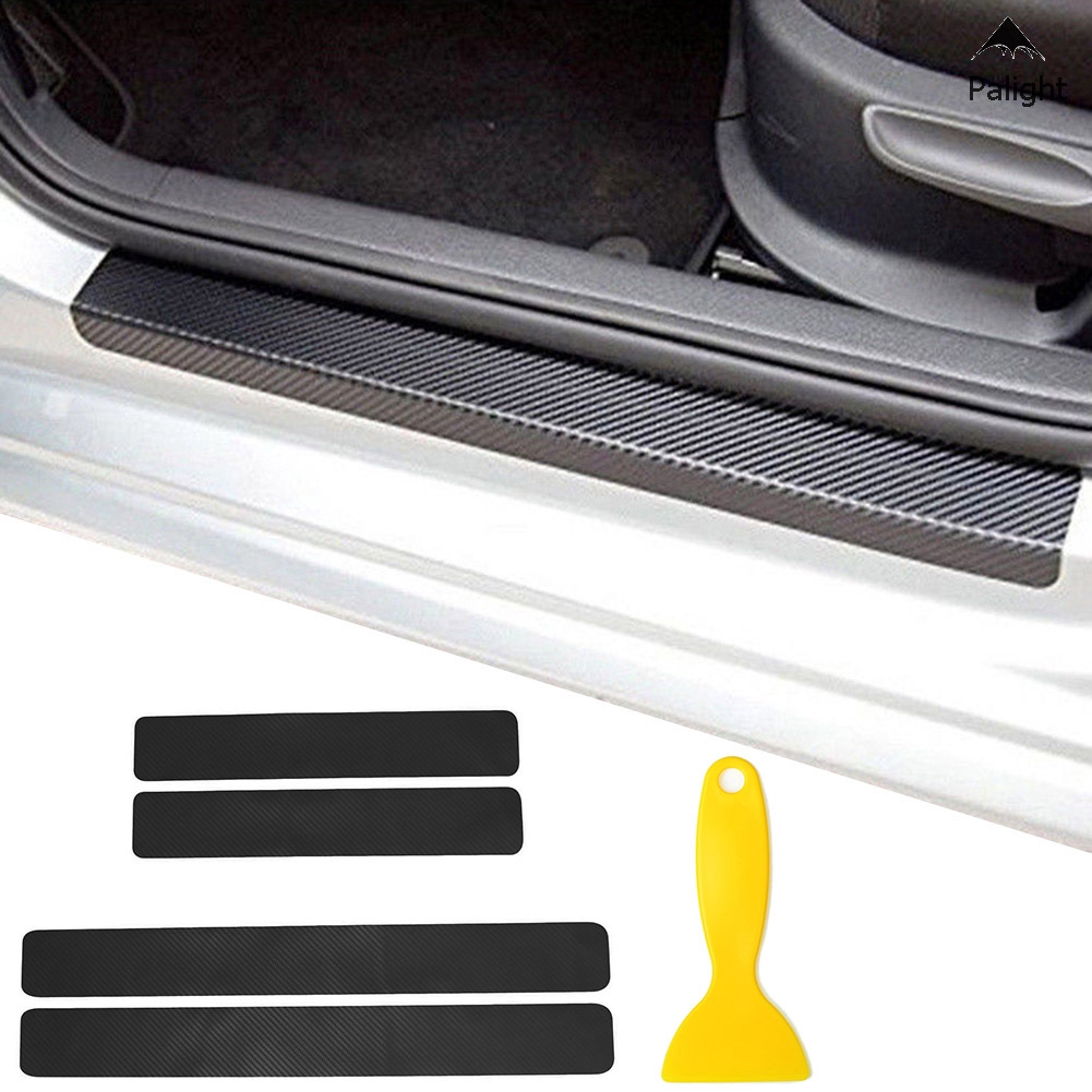 PA 4Pcs Carbon Fiber Car Door Still Scuff Pedal Protector Sticker Panel Entry Guard with Scraper
