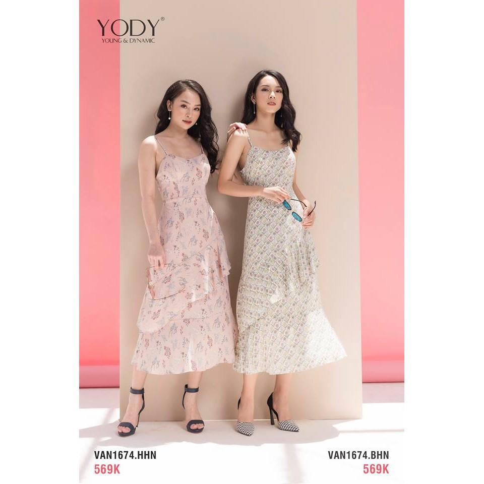 Đầm ôm đai cài hoa YODY VAN1674