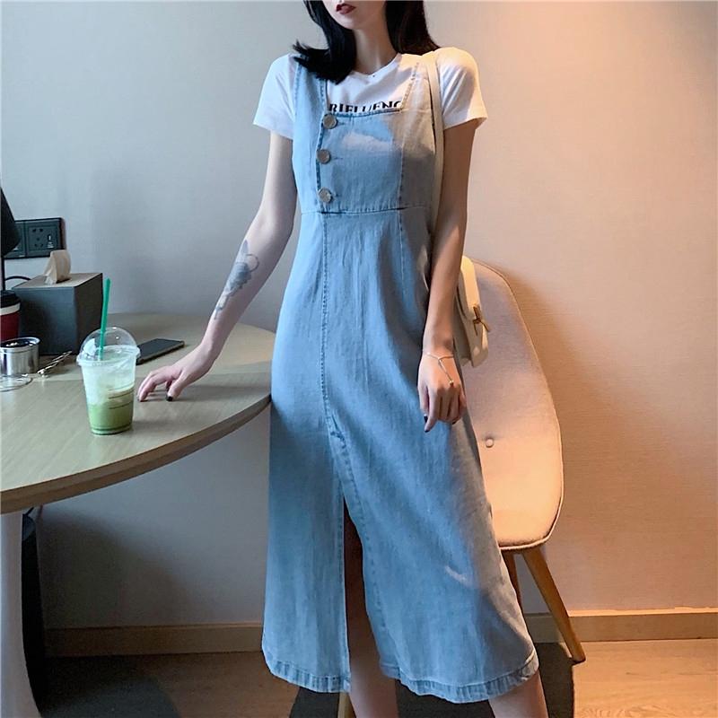 Chân Váy Denim Lưng Cao Phong Cách Retro
