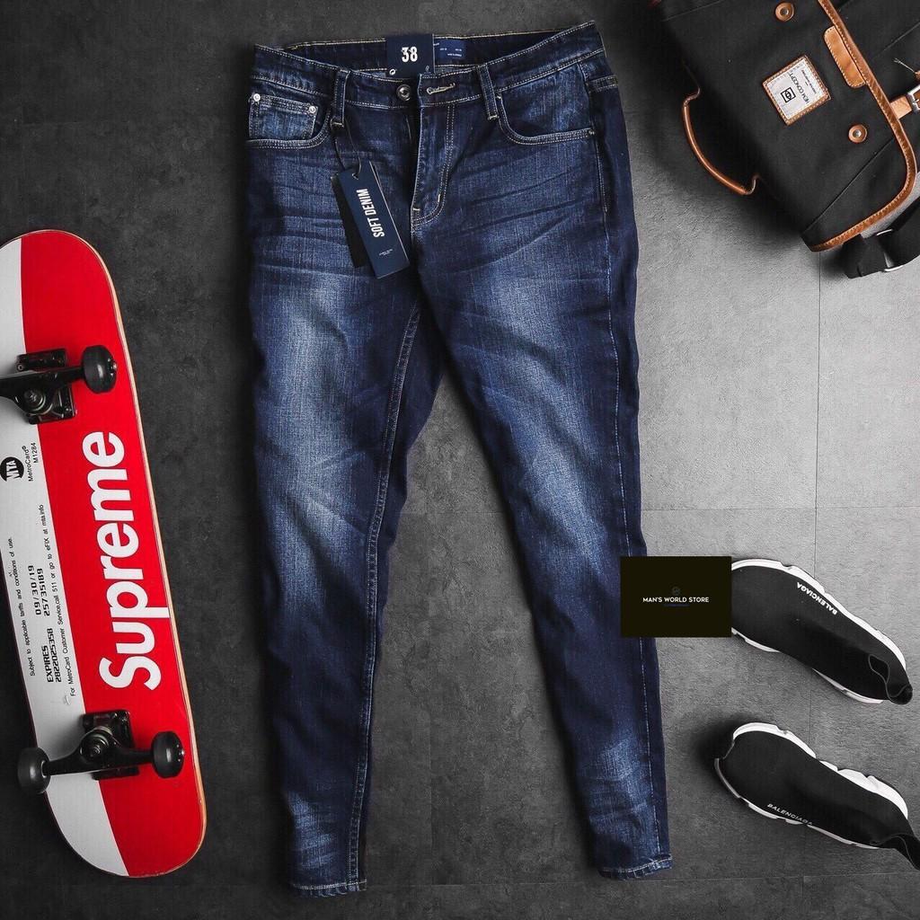 Quần Jean nam Skinny fit Soft Denim VNXK - màu Xanh Đen