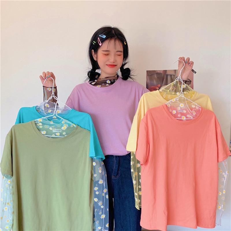Set Áo Thun Tay Ngắn Phối Lưới + Chân Váy Thời Trang Xinh Xắn Cho Nữ