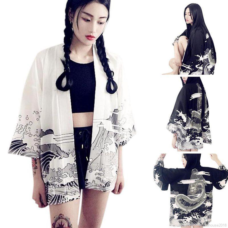 FREESHIP ĐƠN 99K_ Vintage Japanese Style Waves And Wind Dragon Print Summer Cardigan
