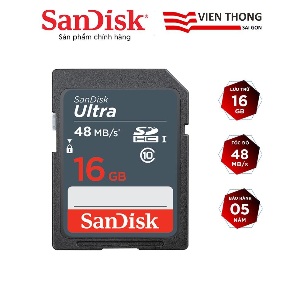 Thẻ nhớ SDHC Sandisk Ultra 16GB upto 48MB/s UHS-I - Hãng phân phối chính thức