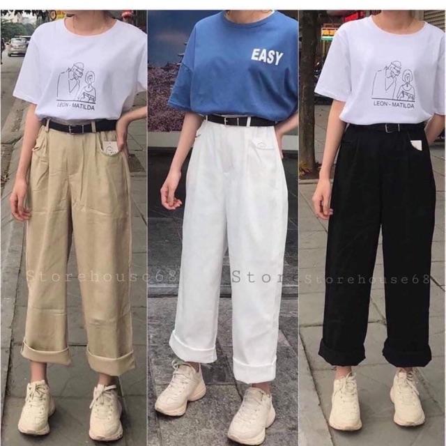 Quần jeans ống rộng ( quần ống sớ jeans)