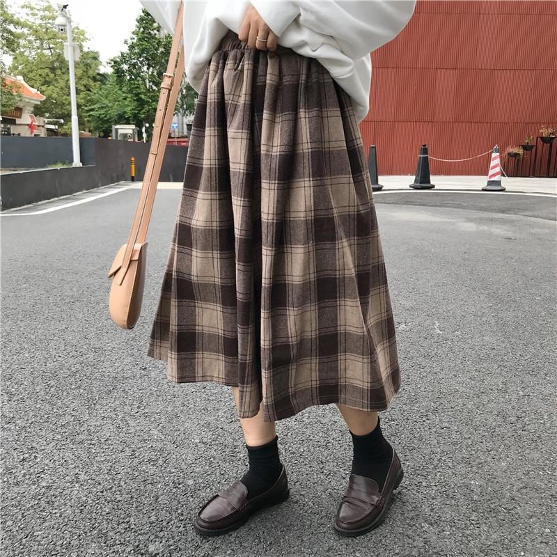 chân váy caro thời trang retro cho nữ