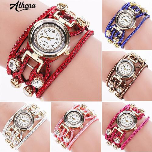 Đồng hồ đeo tay dây da lộn nhiều tầng thời trang cho nữ