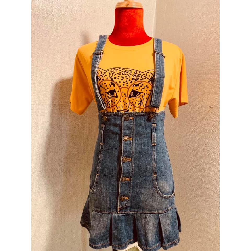 Set áo thun+váy yếm jean size S