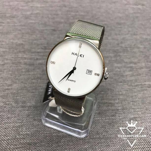 [Mã WTCHJAN giảm 20K ] Đồng hồ nam nữ Halei dây xích màu trắng tinh khôi
