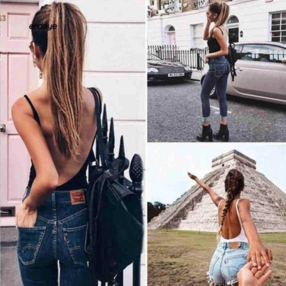 Bộ jumpsuit hở lưng màu trơn gợi cảm cho nữ