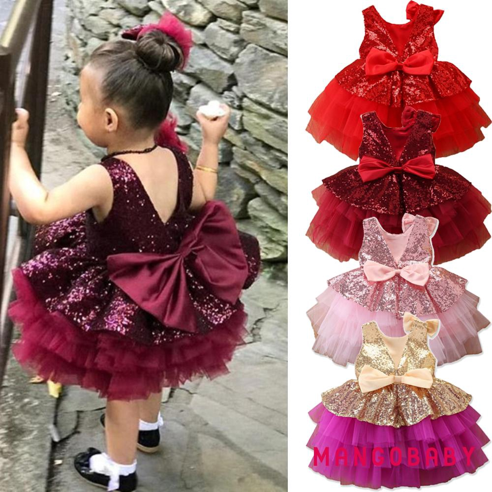 MG-Little Girls Summer Sweet Sequins Sleeveless Bubble Multi Layer Mesh Bow Tutu Dress