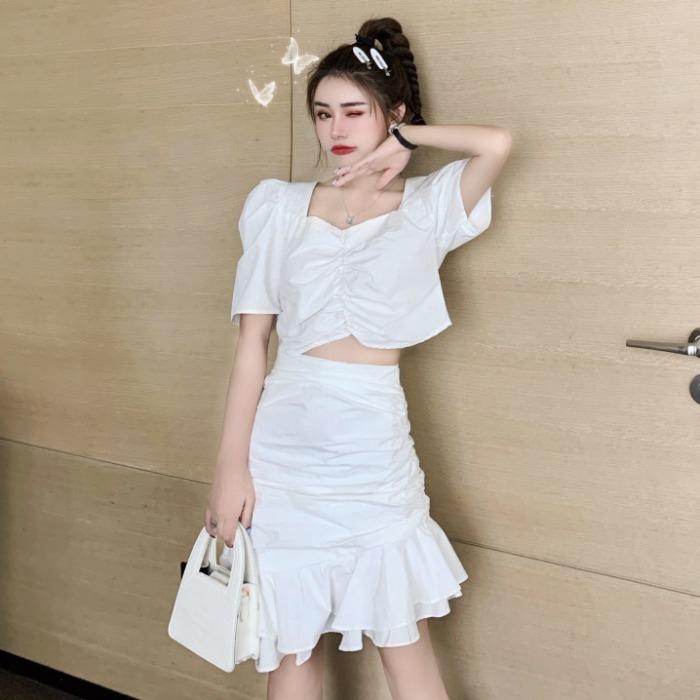 Set Áo Kiểu Tay Phồng Cổ Vuông + Chân Váy Thời Trang Theo Phong Cách Retro Cho Nữ