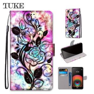 TUKE PU Flip Leather With Card Holder Wallet Cover For LG X Power Lovely Cool Painted Phone Cases