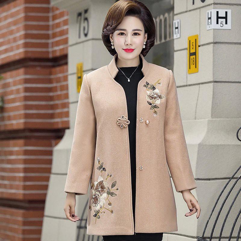 Áo khoác dạ cho mẹ, áo khoác dạ thêu hoa cho nữ trung niên AR41