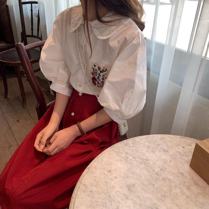 Set Áo Sơ Mi Cổ Búp Bê Thêu Hoa Và Chân Váy Lưng Cao Phong Cách Retro Hàn Quốc