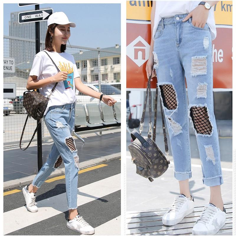 Quần Jeans Nữ Lưng Cao Phối Lưới Thời Trang Hàn