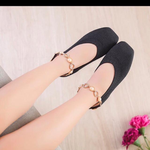 Giày bệt tiểu thư kèm lắc chân xinh yêu