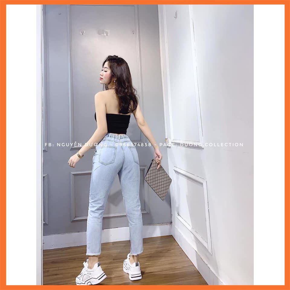 [Giảm Giá] Quần jeans dài cạp chun xanh nhạt Siêu chất