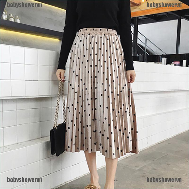 Chân váy chữ A họa tiết chấm bi thời trang quyến rũ cho nữ