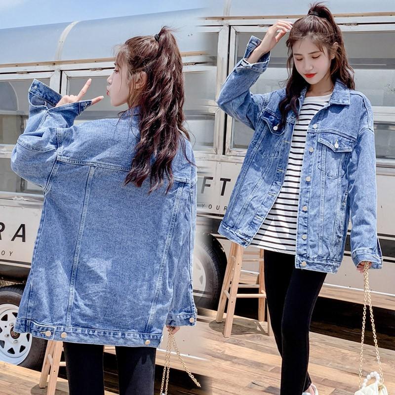 áo khoác jeans nữ dài tay cổ bẻ thời trang hàn