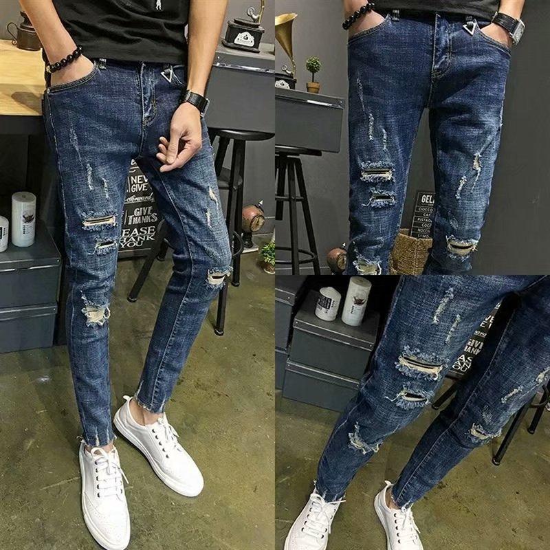 Quần Jeans Dài Rách Gối Thời Trang Dành Cho Nam