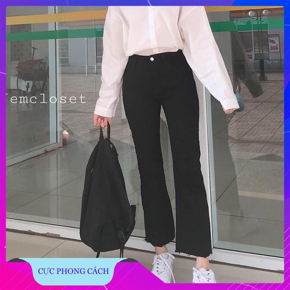 [Giảm Giá] Quần Jeans Ống Loe Đen Trơn Chất Dày Dặn Chất Lượng