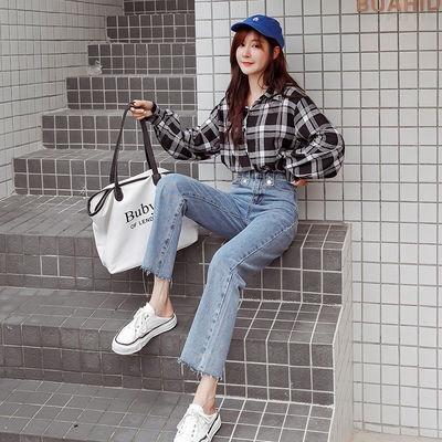 Quần Jeans Nữ Lưng Cao Ống Rộng Thời Trang Hàn