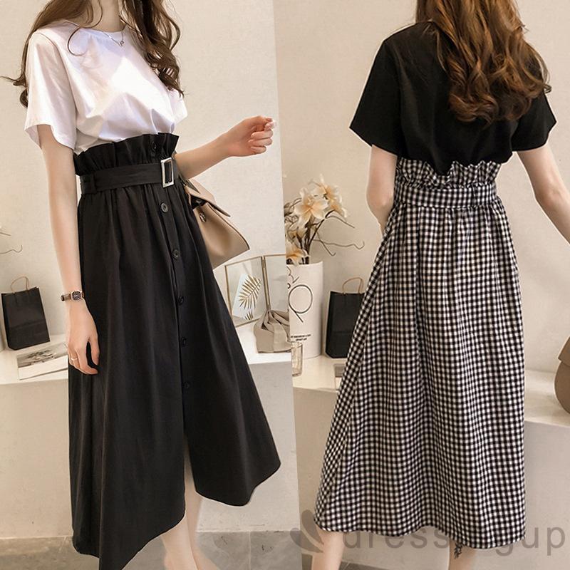 Set Áo Kiểu Ngắn Tay + Chân Váy Xẻ Tà Thời Trang Dành Cho Nữ