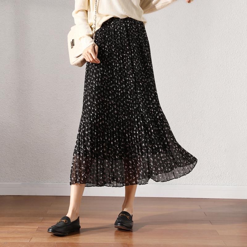 Chân Váy Hoa Xếp Ly Dáng Dài Thời Trang 2020 Cho Nữ